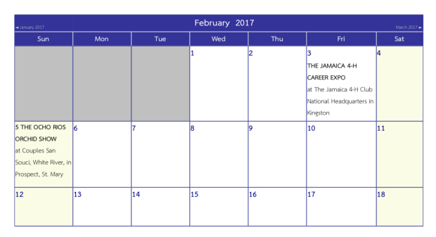Calendar of Events, February 2017